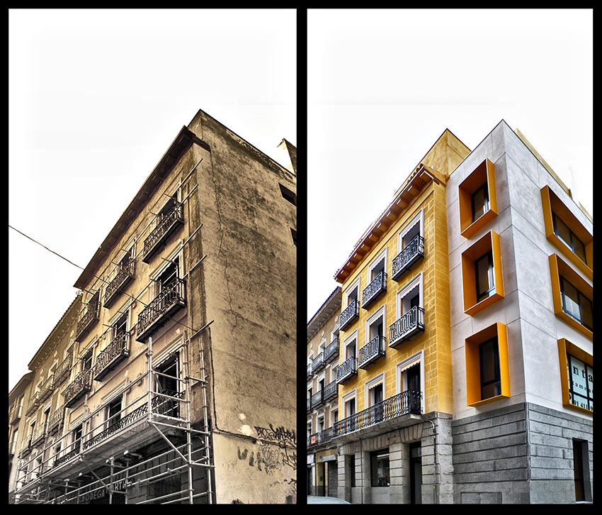 edificio rehabilitado - antes/después